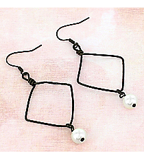 Dangling Dark Brass Diamond and Pearl Earrings #9856E-DB-IV
