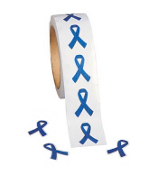 One Roll of 500 Blue Ribbon Stickers #9/1223