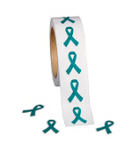 One Roll of 500 Teal Ribbon Stickers #9/1225