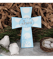 "8"" x 5.75"" Blue ""Jesus Loves Me"" Wooden Cross #9FED1139"