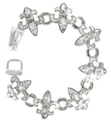 Hammered Silvertone Fleur de Lis Magnetic Bracelet #AB0076LF-AS