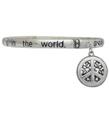 """""""Be The Change"""" Bangle Bracelet with Peace Sign Charm #AB3176-AS"""