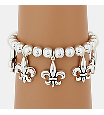 Silvertone Fleur de Lis Stretch Bracelet #AB4229-AS