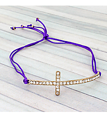 Crystal Cross Adjustable Purple Cord Bracelet #AB4937-GA