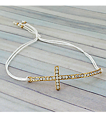 Crystal Cross Adjustable White Cord Bracelet #AB4937-GW