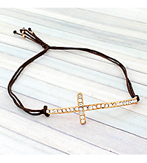 Crystal Cross Adjustable Brown Cord Bracelet #AB4937-RGB