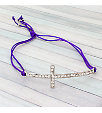 Crystal Cross Adjustable Purple Cord Bracelet #AB4937-RHA