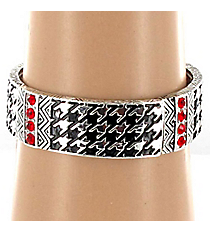 Houndstooth and Red Crystal Stretch Bracelet #AB5237-AS
