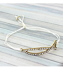 Crystal Christian Fish Adjustable White Cord Bracelet #AB5597-GW