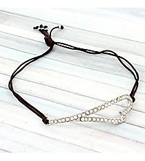 Crystal Heart Adjustable Brown Cord Bracelet #AB5598-RHB