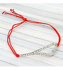 Crystal Heart Adjustable Red Cord Bracelet #AB5598-RHR