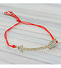 Crystal Arrow Adjustable Red Cord Bracelet #AB5679-GR