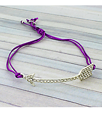 Crystal Arrow Adjustable Purple Cord Bracelet #AB5679-SA