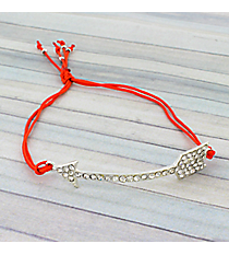 Crystal Arrow Adjustable Red Cord Bracelet #AB5679-SR