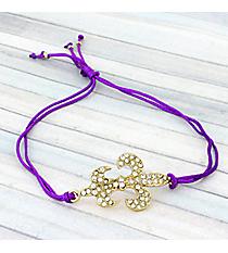 Crystal Fleur De Lis Adjustable Purple Cord Bracelet #AB5762-GA
