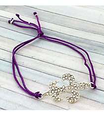 Crystal Fleur De Lis Adjustable Purple Cord Bracelet #AB5762-SA