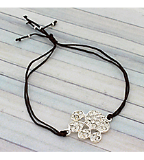 Crystal Paw Print Adjustable Brown Cord Bracelet #AB5772-SB