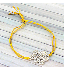 Crystal Paw Print Adjustable Yellow Cord Bracelet #AB5772-SY