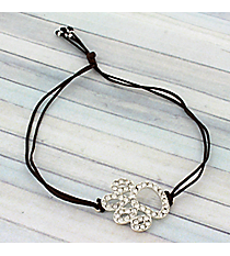 Cut Out Crystal Paw Print Adjustable Brown Cord Bracelet #AB5773-SB