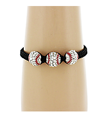 Crystal and Silvertone Triple Baseball Adjustable Bracelet #AB6039-BLK