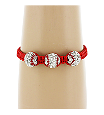 Crystal and Silvertone Triple Baseball Adjustable Bracelet #AB6039-RED