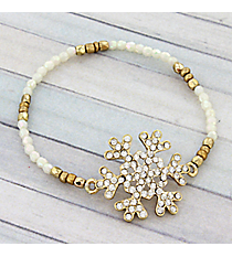 Crystal Goldtone and White Snowflake Beaded Stretch Bracelet #AB6046-GW