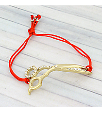 Goldtone Crystal Scissors Adjustable Red Cord Bracelet #AB6056-GR