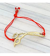 Goldtone Crystal Scissors Adjustable Red Cord Bracelet #AB6056-GR