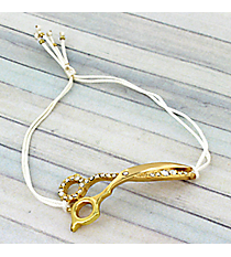Goldtone Crystal Scissors Adjustable White Cord Bracelet #AB6056-GW