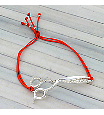 Silvertone Crystal Scissors Adjustable Red Cord Bracelet #AB6056-SR