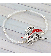Silvertone and White Seed Bead Reindeer Stretch Bracelet #AB6760-ASAB