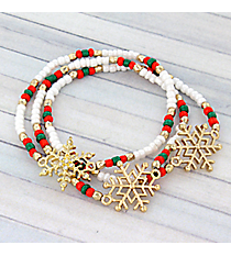 Red, Green, and Pearl Bead Goldtone Snowflake Stretch Bracelet Set #AB6838-GMT