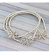 Silvertone Snowflake Stretch Bracelet Set #AB6838-S