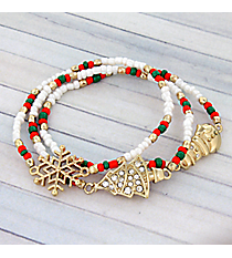 Red, Green, and Pearl Bead Goldone Winter Stretch Bracelet Set #AB6839-GMT