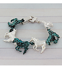 Antiqued Turquoise and Silvertone Horse Bracelet #AB7443-TT