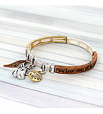 Angel Blessing Tri-Tone Stretch Bracelet #AB7474-B3T