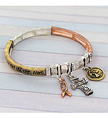 The Lord's Prayer Tri-Tone Stretch Bracelet #AB7476-B3T