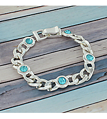 Blue Crystal Accented Silvertone Chain Magnetic Bracelet #AB7486-SM