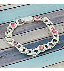 Pink Crystal Accented Silvertone Chain Magnetic Bracelet #AB7486-SP