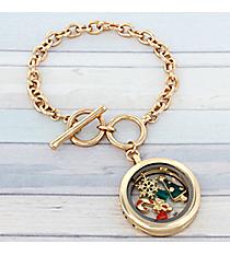 Christmas Charm Locket Pendant Goldtone Toggle Bracelet #AB7501-AGMT