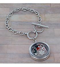 Christmas Charm Locket Pendant Silvertone Toggle Bracelet #AB7501-RHMT