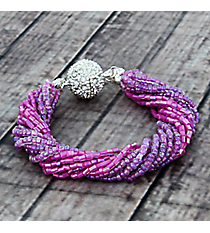 Amethyst Crystal and Seed Bead Magnetic Bracelet #AB7510-SA