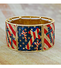 Vintage US Flag Cross Goldtone Stretch Bracelet #AB7516-G