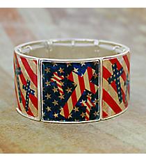Vintage US Flag Cross Silvertone Stretch Bracelet #AB7516-S