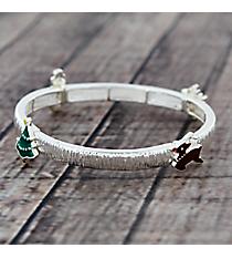 Silvertone Christmas Theme Stretch Bracelet #AB7517-ASMX
