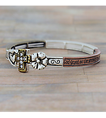 Serenity Prayer Burnished Tri-Tone Stretch Bangle #AB7538-B3T
