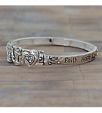 """Faith Hope Love"" Silvertone Stretch Bangle #AB7542-AS"
