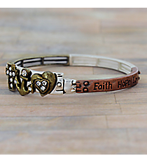 """Faith Hope Love"" Burnished Tri-Tone Stretch Bangle #AB7542-B3T"