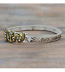 """Faith Hope Love"" Matte Two-Tone Stretch Bangle #AB7542-WTT"