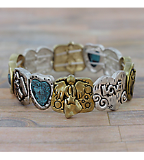 Angel Themed Tri-Tone Stretch Bracelet #AB7544-3T